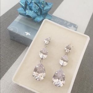 White rhinestone earrings